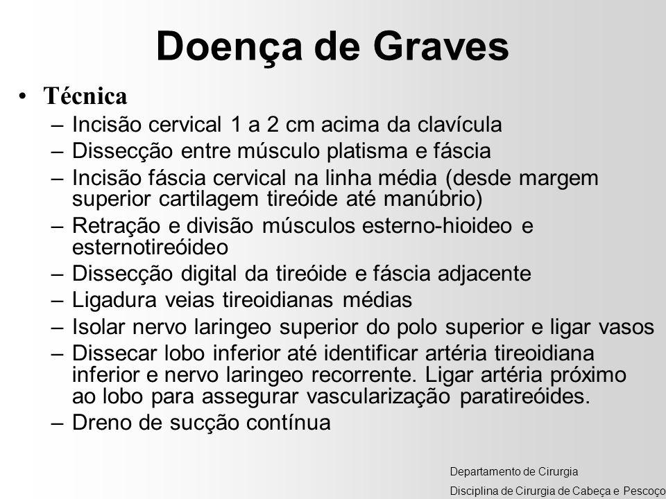 Doença de Graves Técnica –Incisão cervical 1 a 2 cm acima da clavícula –Dissecção entre músculo platisma e fáscia –Incisão fáscia cervical na linha mé
