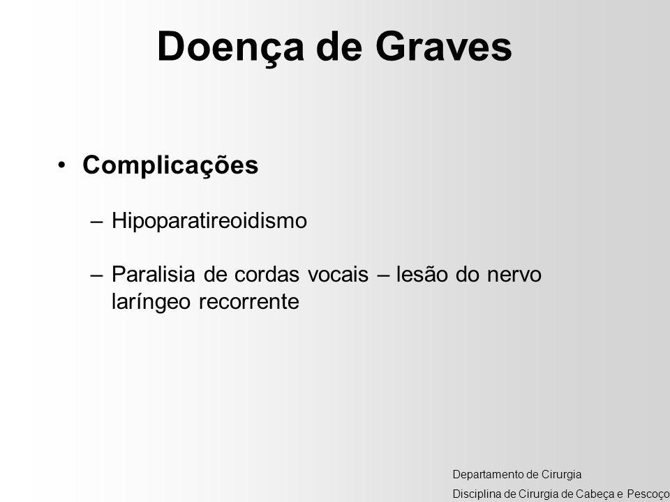 Doença de Graves Complicações –Hipoparatireoidismo –Paralisia de cordas vocais – lesão do nervo laríngeo recorrente Departamento de Cirurgia Disciplin