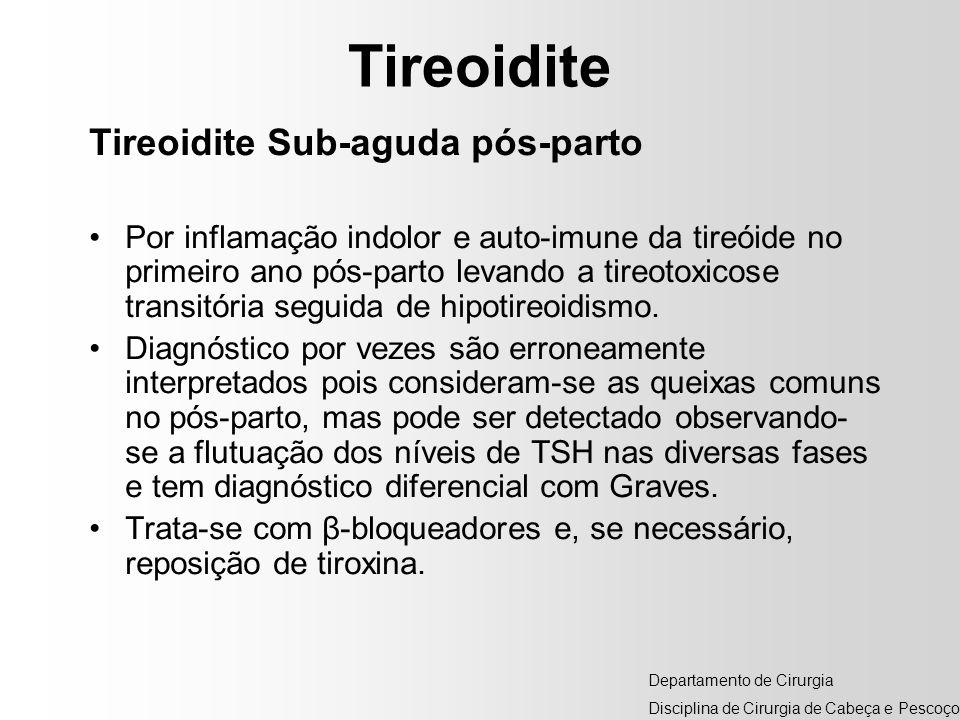 Tireoidite Tireoidite Sub-aguda pós-parto Por inflamação indolor e auto-imune da tireóide no primeiro ano pós-parto levando a tireotoxicose transitóri