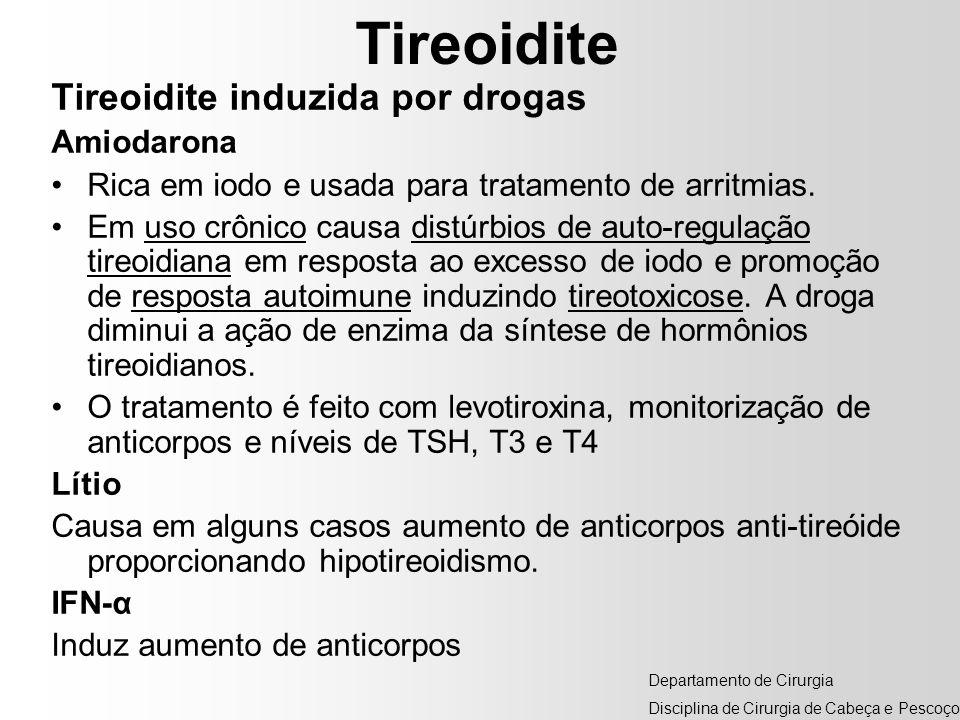 Tireoidite Tireoidite induzida por drogas Amiodarona Rica em iodo e usada para tratamento de arritmias. Em uso crônico causa distúrbios de auto-regula