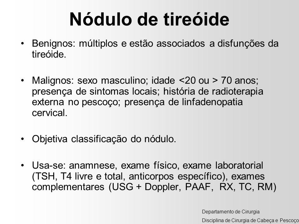 Nódulo de tireóide Benignos: múltiplos e estão associados a disfunções da tireóide. Malignos: sexo masculino; idade 70 anos; presença de sintomas loca