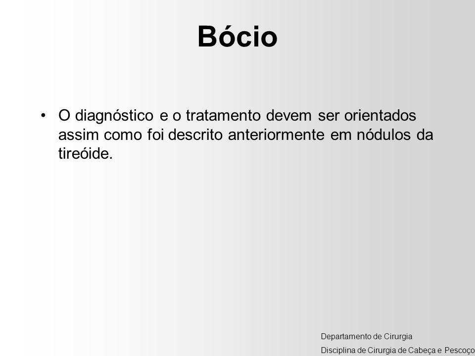 Bócio O diagnóstico e o tratamento devem ser orientados assim como foi descrito anteriormente em nódulos da tireóide. Departamento de Cirurgia Discipl