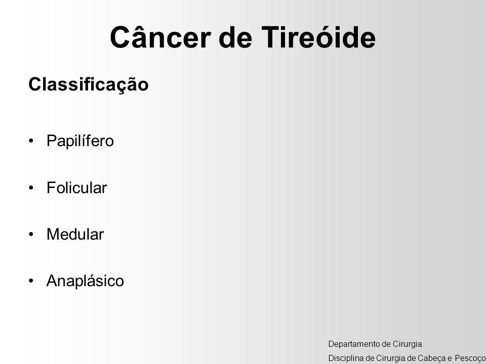 Câncer de Tireóide Classificação Papilífero Folicular Medular Anaplásico Departamento de Cirurgia Disciplina de Cirurgia de Cabeça e Pescoço