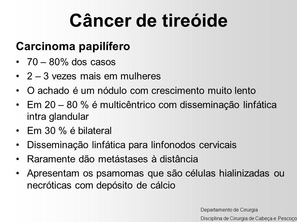 Câncer de tireóide Carcinoma papilífero 70 – 80% dos casos 2 – 3 vezes mais em mulheres O achado é um nódulo com crescimento muito lento Em 20 – 80 %
