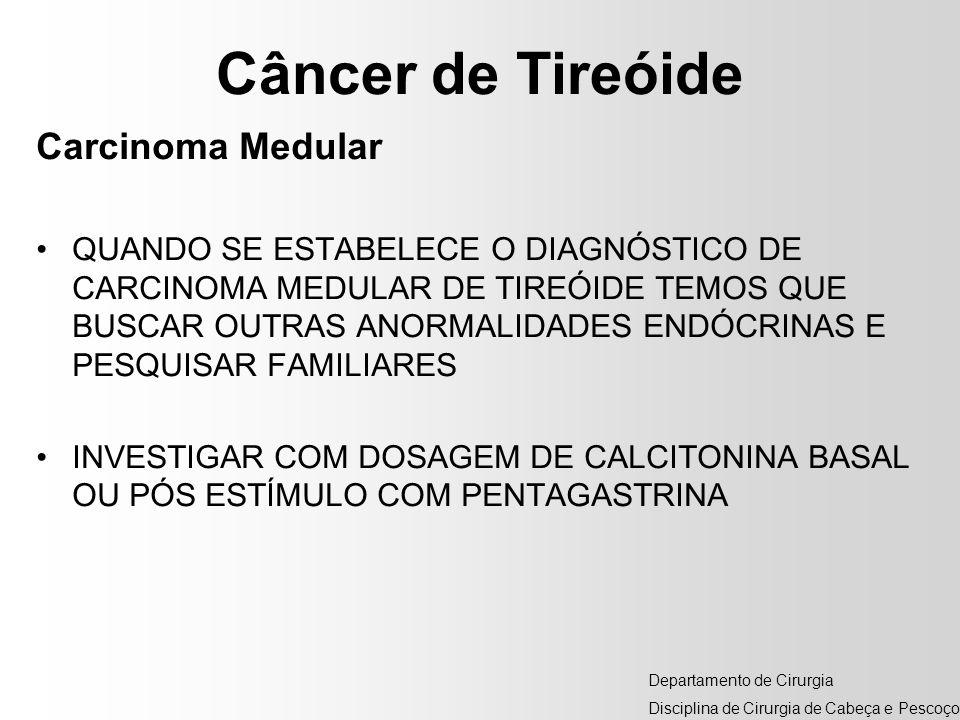 Câncer de Tireóide Carcinoma Medular QUANDO SE ESTABELECE O DIAGNÓSTICO DE CARCINOMA MEDULAR DE TIREÓIDE TEMOS QUE BUSCAR OUTRAS ANORMALIDADES ENDÓCRI
