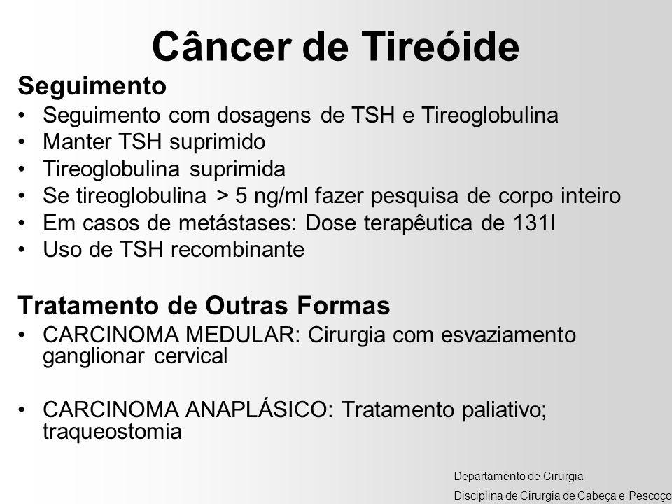 Câncer de Tireóide Seguimento Seguimento com dosagens de TSH e Tireoglobulina Manter TSH suprimido Tireoglobulina suprimida Se tireoglobulina > 5 ng/m