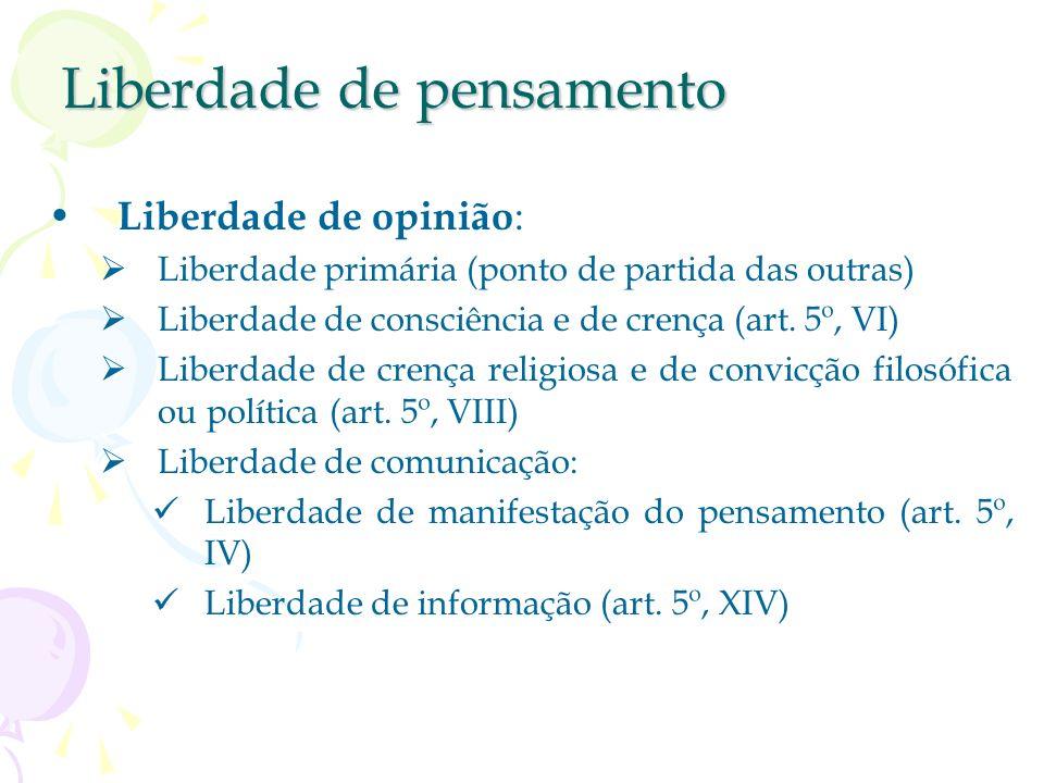 Liberdade da pessoa física Liberdade de locomoção : art. 5º, XV Cerne da liberdade da pessoa física Garantia específica: o habeas corpus Liberdade de