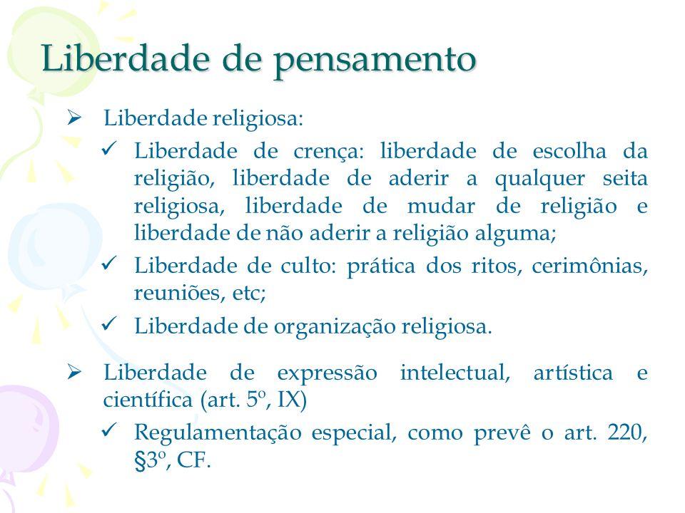 Liberdade de pensamento Liberdade de opinião : Liberdade primária (ponto de partida das outras) Liberdade de consciência e de crença (art. 5º, VI) Lib