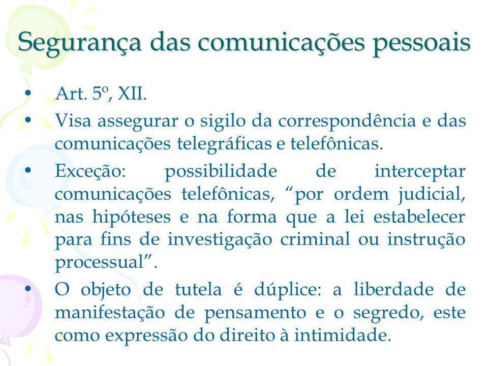 Segurança no domicílio Art. 5º, XI. Casa: asilo inviolável do indivíduo. Direito à privacidade e à intimidade. A segurança consiste na proibição de pe