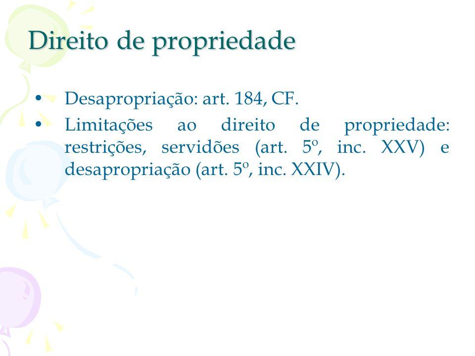 Direito de propriedade Art. 5º, inc. XXII. Função social: elemento da estrutura e do regime jurídico da propriedade (SILVA); princípio ordenador da pr