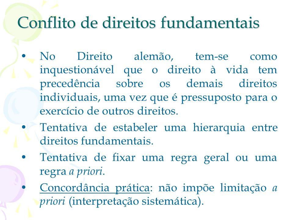 Conflito de direitos fundamentais Tem-se colisão apenas quando um direito individual afeta diretamente o âmbito de proteção de outro direito individua