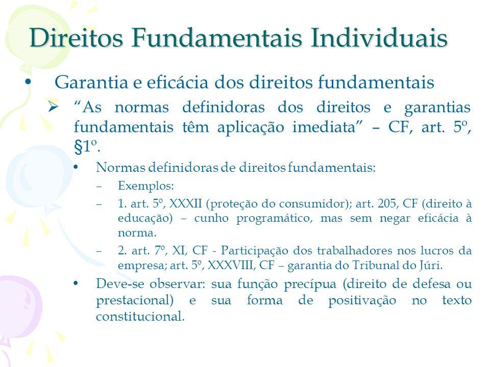 Direitos Fundamentais Individuais Garantia e eficácia dos direitos fundamentais As normas definidoras dos direitos e garantias fundamentais têm aplicação imediata – CF, art.