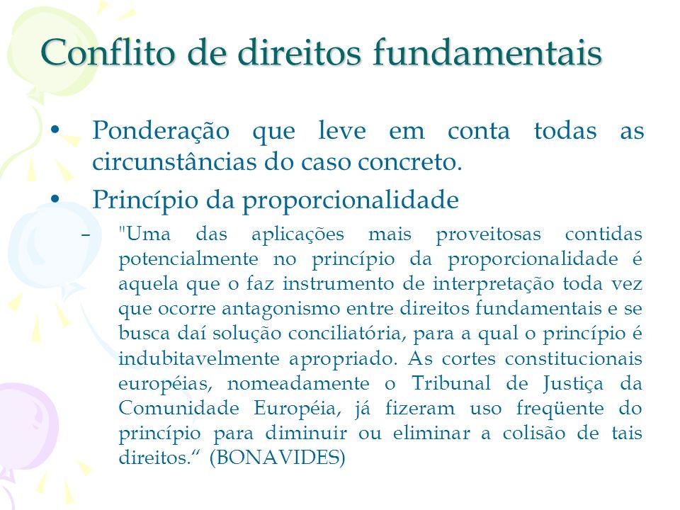Conflito de direitos fundamentais (...) não se há de utilizar o pretexto de pretensa colisão para limitar direitos insuscetíveis, em princípio, de res