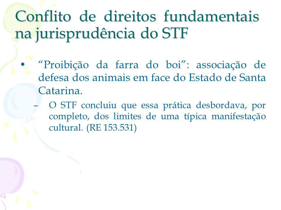 Conflito de direitos fundamentais Ponderação que leve em conta todas as circunstâncias do caso concreto. Princípio da proporcionalidade –