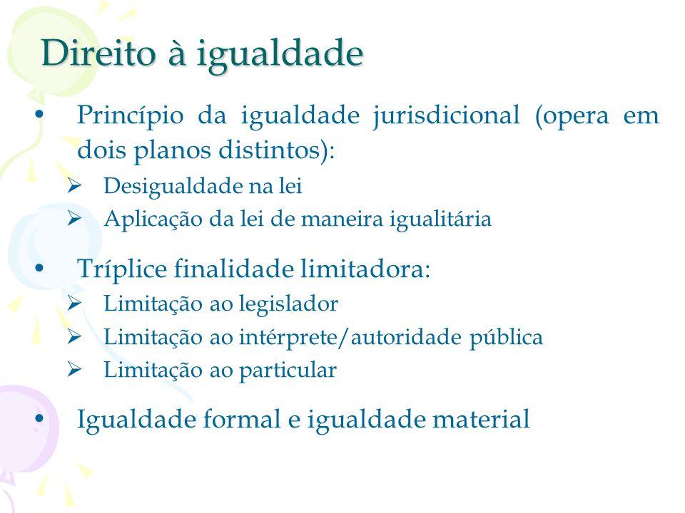 Direito à igualdade Princípio da igualdade jurisdicional (opera em dois planos distintos): Desigualdade na lei Aplicação da lei de maneira igualitária Tríplice finalidade limitadora: Limitação ao legislador Limitação ao intérprete/autoridade pública Limitação ao particular Igualdade formal e igualdade material
