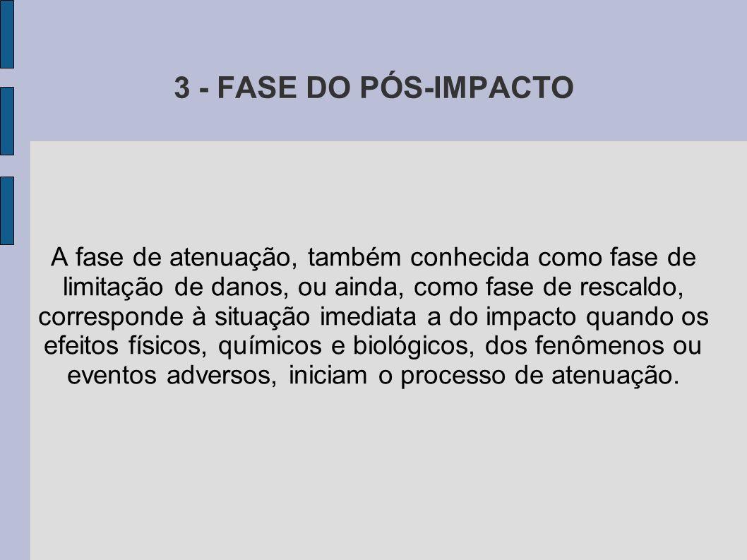 3 - FASE DO PÓS-IMPACTO A fase de atenuação, também conhecida como fase de limitação de danos, ou ainda, como fase de rescaldo, corresponde à situação