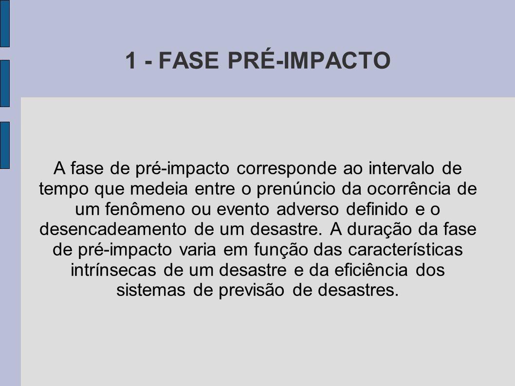 1 - FASE PRÉ-IMPACTO A fase de pré-impacto corresponde ao intervalo de tempo que medeia entre o prenúncio da ocorrência de um fenômeno ou evento adver