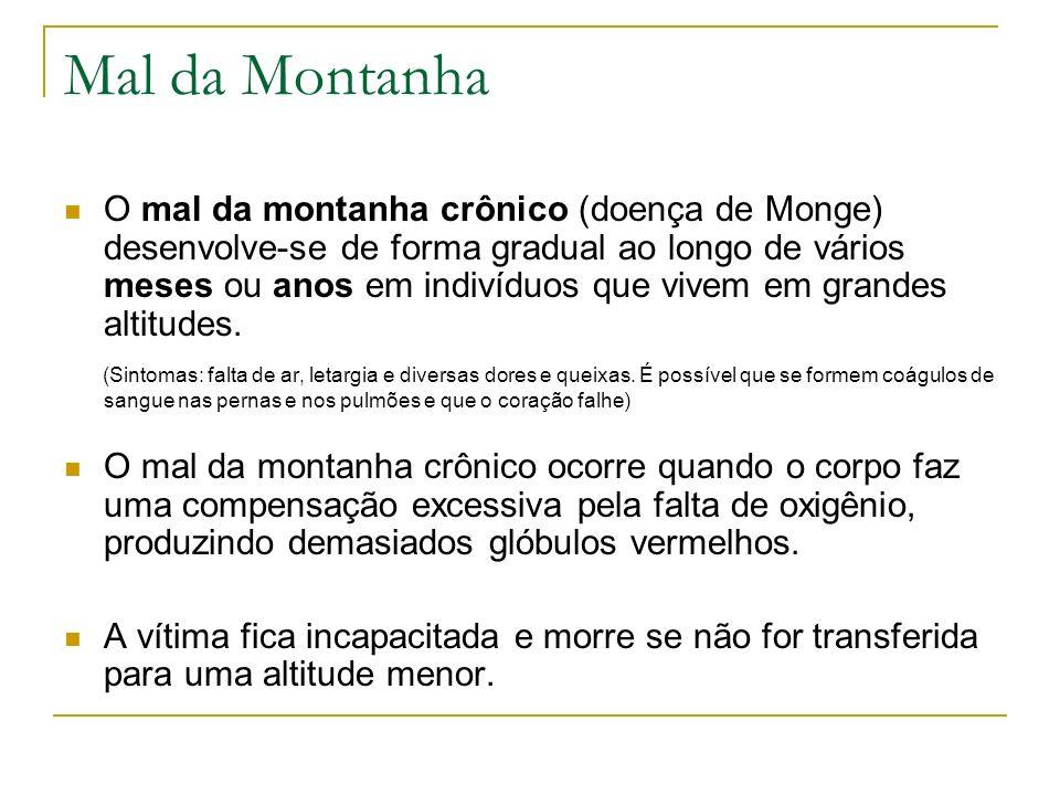 Mal da Montanha O mal da montanha crônico (doença de Monge) desenvolve-se de forma gradual ao longo de vários meses ou anos em indivíduos que vivem em
