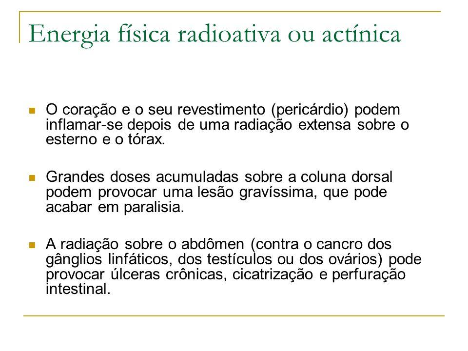 Energia física radioativa ou actínica O coração e o seu revestimento (pericárdio) podem inflamar-se depois de uma radiação extensa sobre o esterno e o