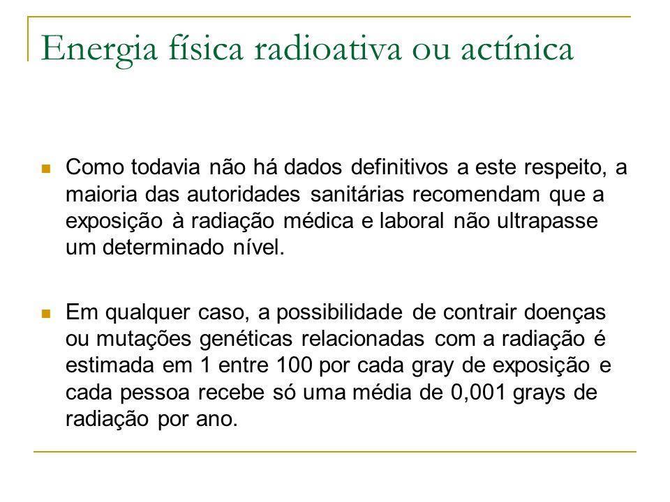 Energia física radioativa ou actínica Como todavia não há dados definitivos a este respeito, a maioria das autoridades sanitárias recomendam que a exp