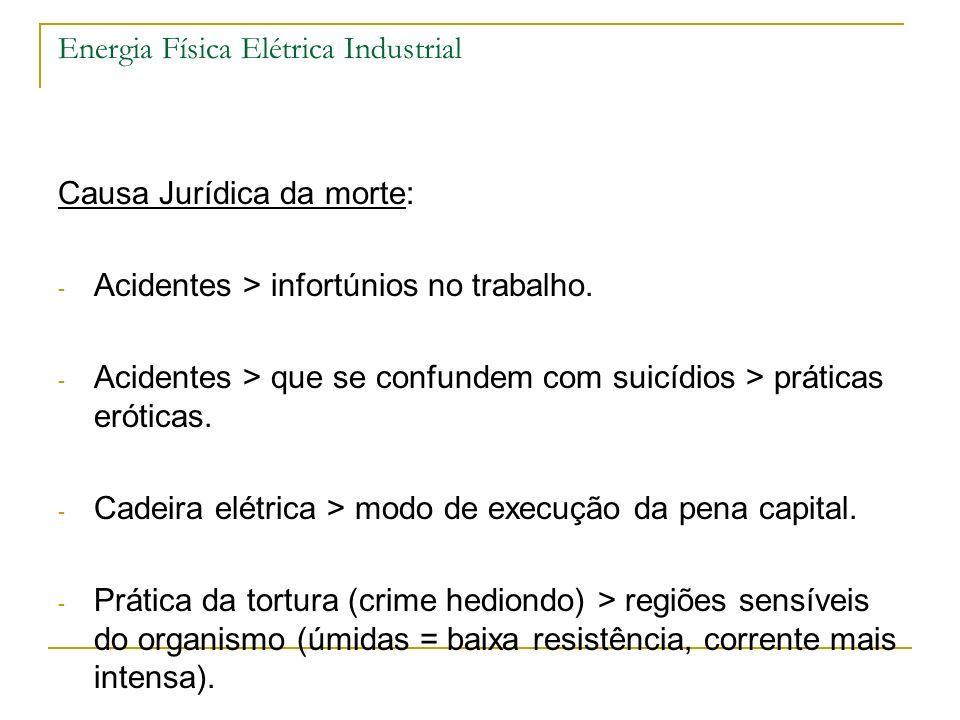 Energia Física Elétrica Industrial Causa Jurídica da morte: - Acidentes > infortúnios no trabalho. - Acidentes > que se confundem com suicídios > prát