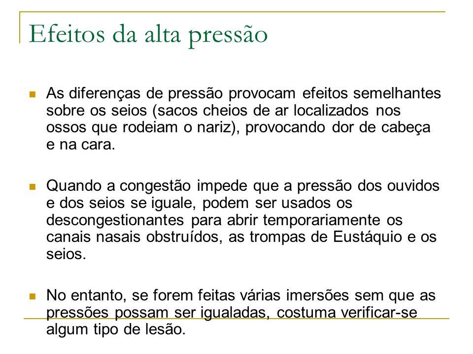 Efeitos da alta pressão As diferenças de pressão provocam efeitos semelhantes sobre os seios (sacos cheios de ar localizados nos ossos que rodeiam o n