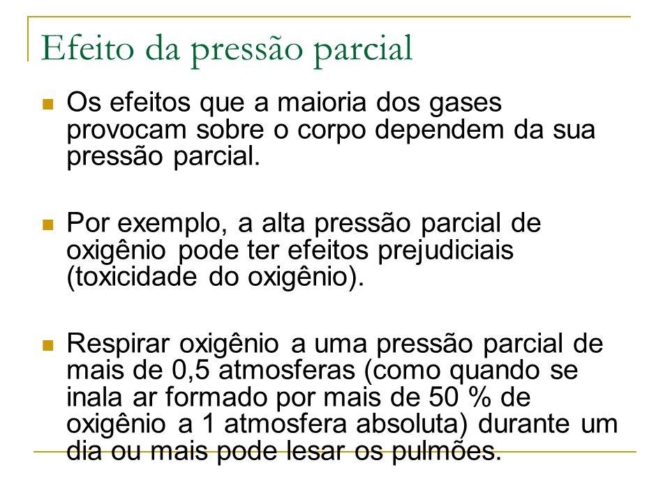Efeito da pressão parcial Os efeitos que a maioria dos gases provocam sobre o corpo dependem da sua pressão parcial. Por exemplo, a alta pressão parci