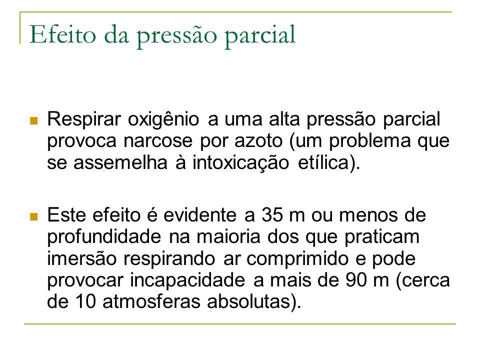 Efeito da pressão parcial Respirar oxigênio a uma alta pressão parcial provoca narcose por azoto (um problema que se assemelha à intoxicação etílica).