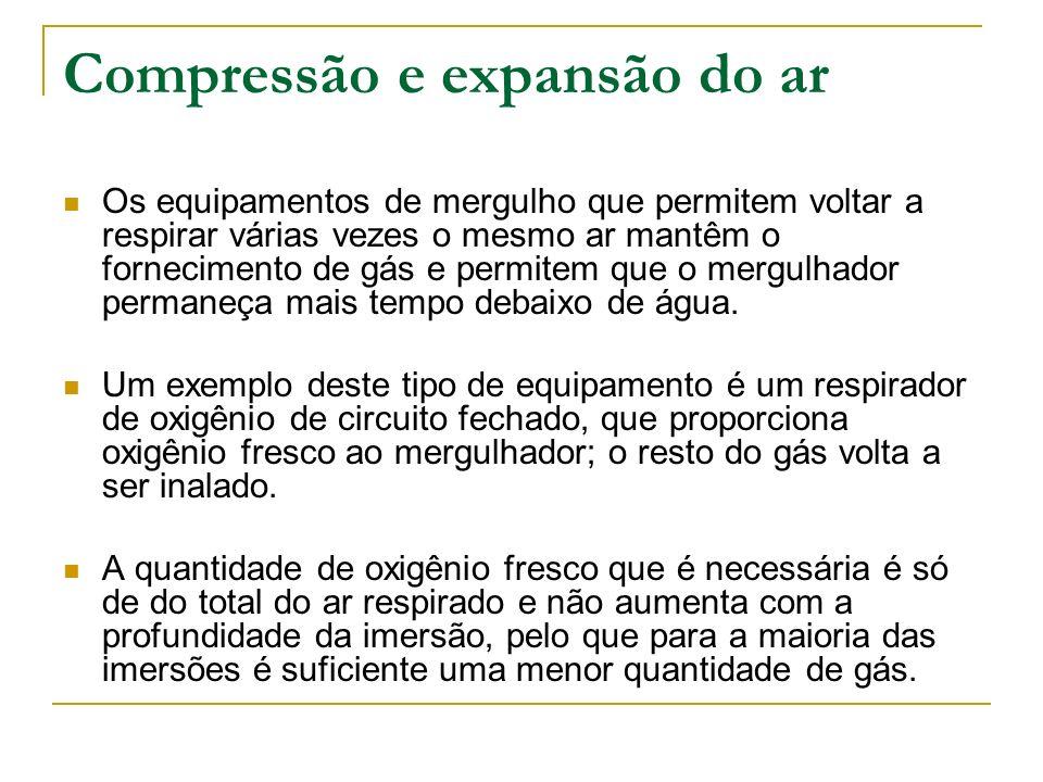 Compressão e expansão do ar Os equipamentos de mergulho que permitem voltar a respirar várias vezes o mesmo ar mantêm o fornecimento de gás e permitem