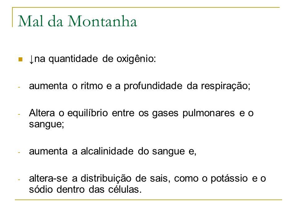 Mal da Montanha na quantidade de oxigênio: - aumenta o ritmo e a profundidade da respiração; - Altera o equilíbrio entre os gases pulmonares e o sangu