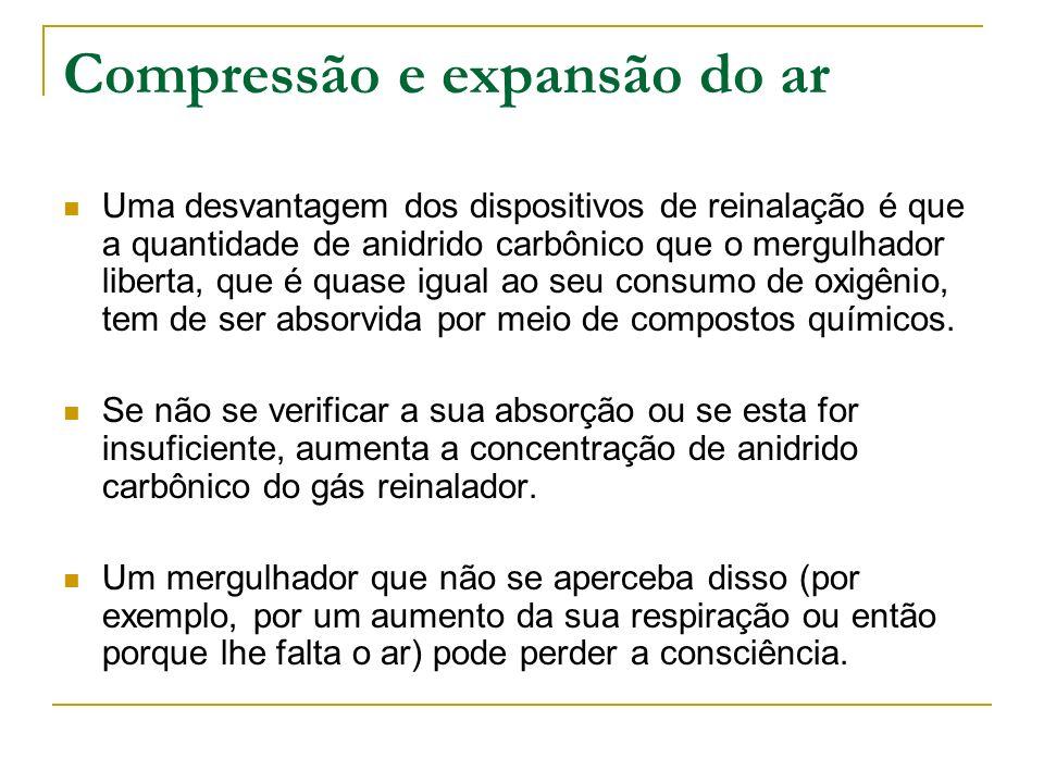 Compressão e expansão do ar Uma desvantagem dos dispositivos de reinalação é que a quantidade de anidrido carbônico que o mergulhador liberta, que é q