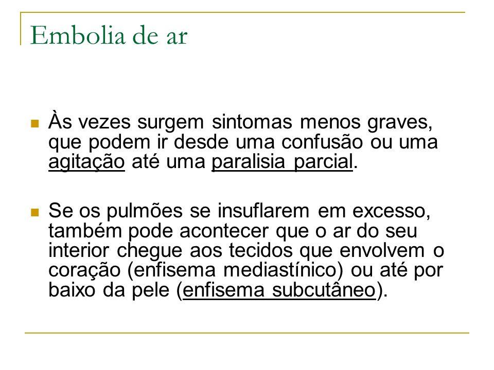 Embolia de ar Às vezes surgem sintomas menos graves, que podem ir desde uma confusão ou uma agitação até uma paralisia parcial. Se os pulmões se insuf