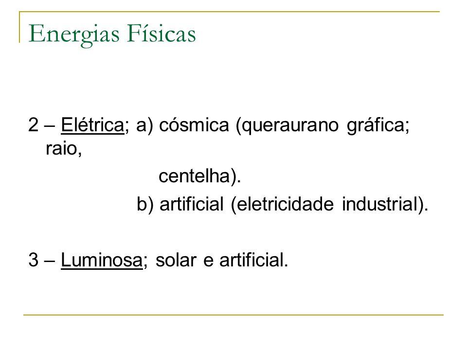 Energias Físicas 2 – Elétrica; a) cósmica (queraurano gráfica; raio, centelha). b) artificial (eletricidade industrial). 3 – Luminosa; solar e artific