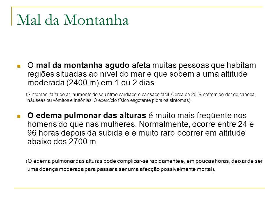 Mal da Montanha O mal da montanha agudo afeta muitas pessoas que habitam regiões situadas ao nível do mar e que sobem a uma altitude moderada (2400 m)