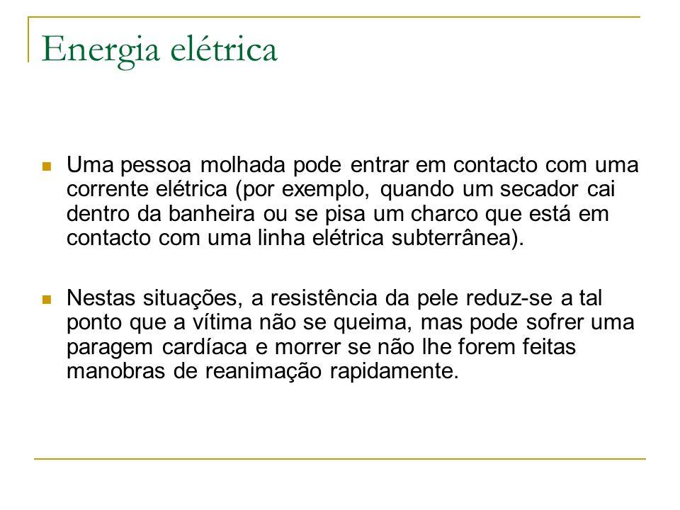 Energia elétrica Uma pessoa molhada pode entrar em contacto com uma corrente elétrica (por exemplo, quando um secador cai dentro da banheira ou se pis
