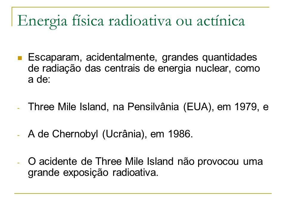 Energia física radioativa ou actínica Escaparam, acidentalmente, grandes quantidades de radiação das centrais de energia nuclear, como a de: - Three M