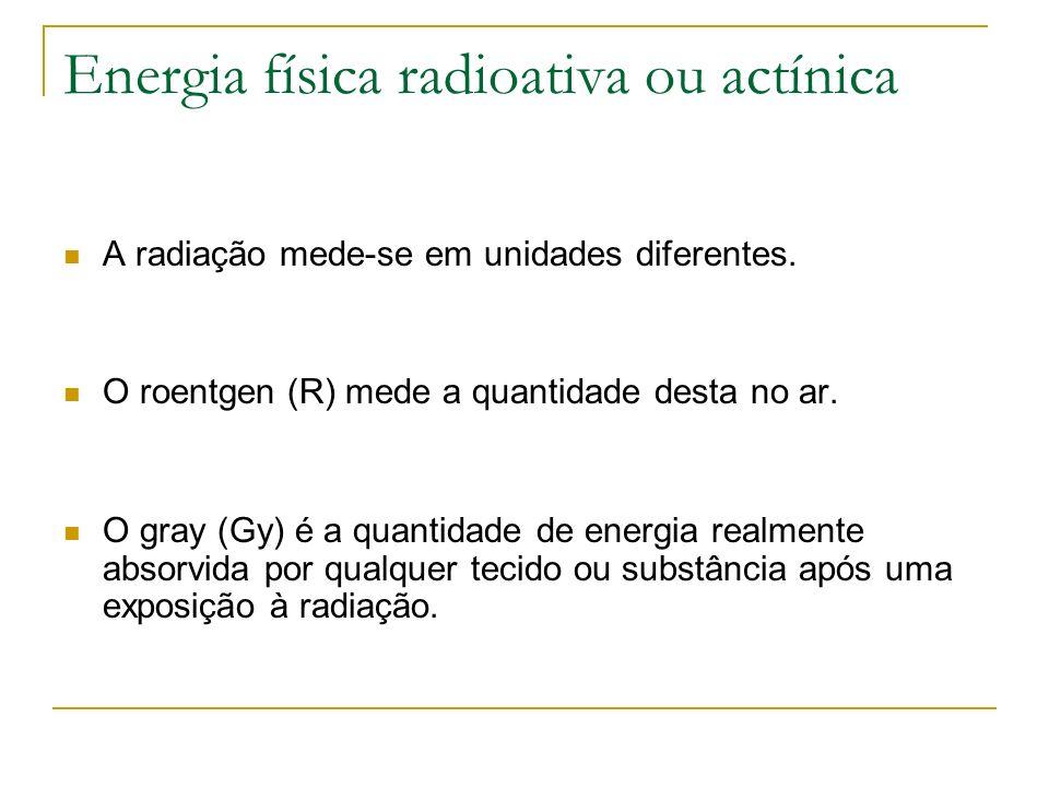 Energia física radioativa ou actínica A radiação mede-se em unidades diferentes. O roentgen (R) mede a quantidade desta no ar. O gray (Gy) é a quantid