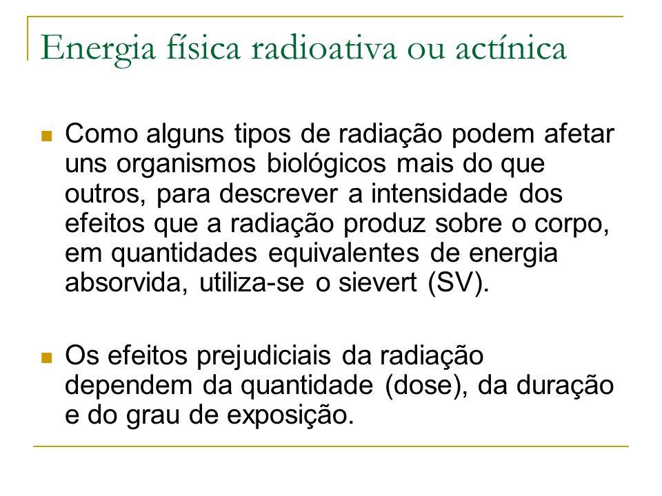 Energia física radioativa ou actínica Como alguns tipos de radiação podem afetar uns organismos biológicos mais do que outros, para descrever a intens