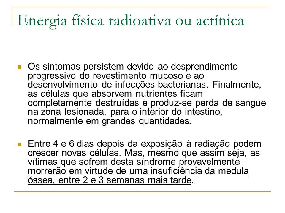 Energia física radioativa ou actínica Os sintomas persistem devido ao desprendimento progressivo do revestimento mucoso e ao desenvolvimento de infecç