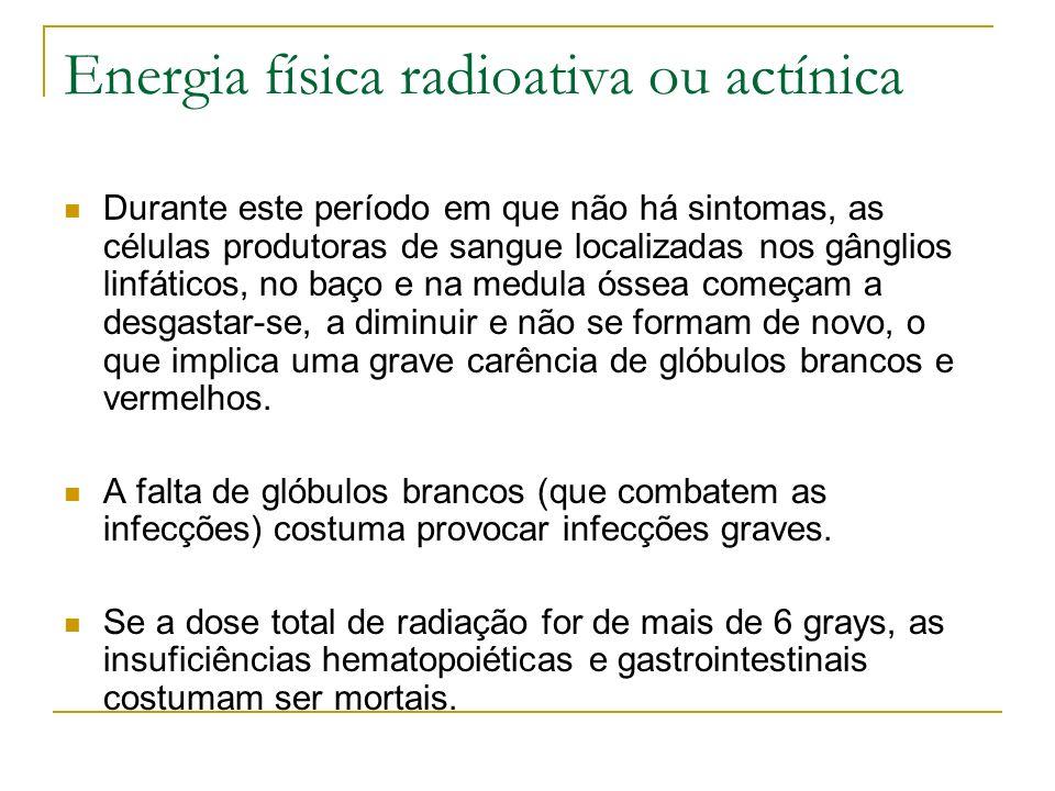 Energia física radioativa ou actínica Durante este período em que não há sintomas, as células produtoras de sangue localizadas nos gânglios linfáticos