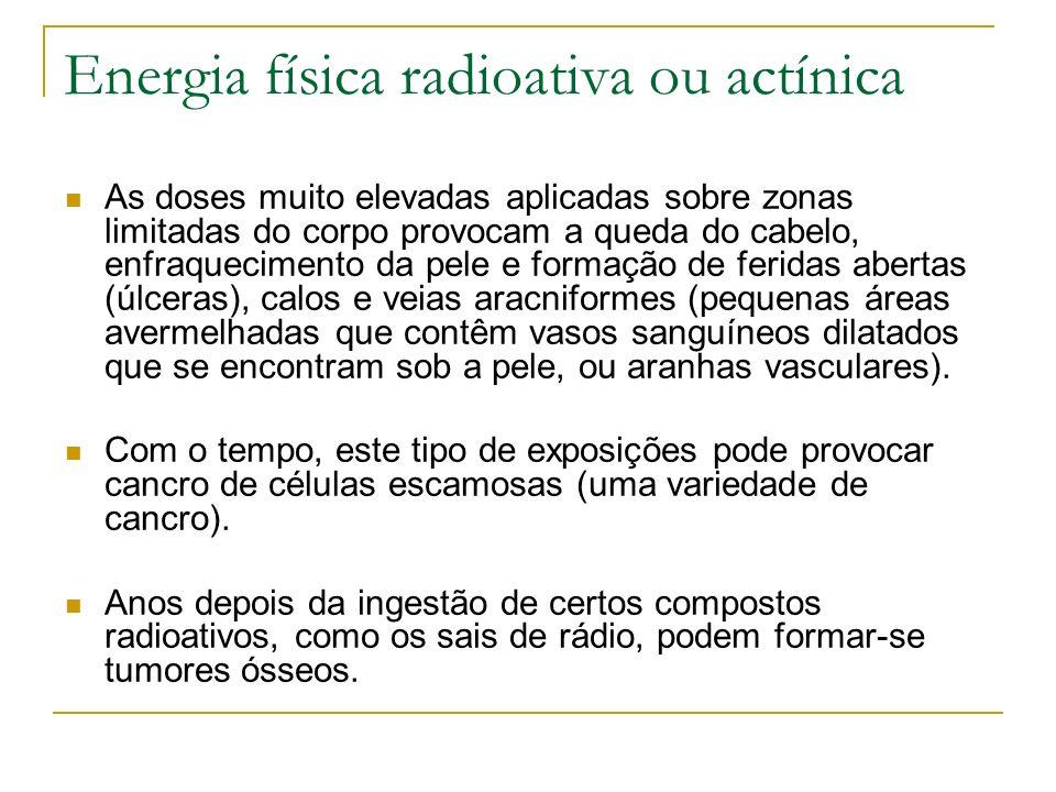 Energia física radioativa ou actínica As doses muito elevadas aplicadas sobre zonas limitadas do corpo provocam a queda do cabelo, enfraquecimento da