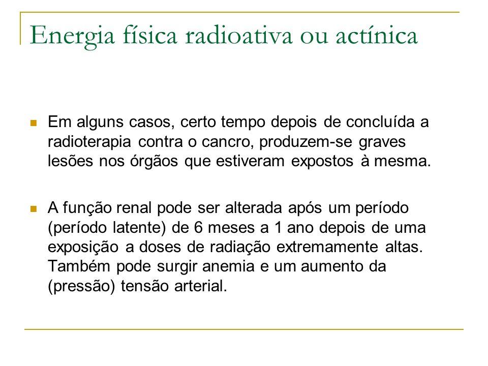 Energia física radioativa ou actínica Em alguns casos, certo tempo depois de concluída a radioterapia contra o cancro, produzem-se graves lesões nos ó