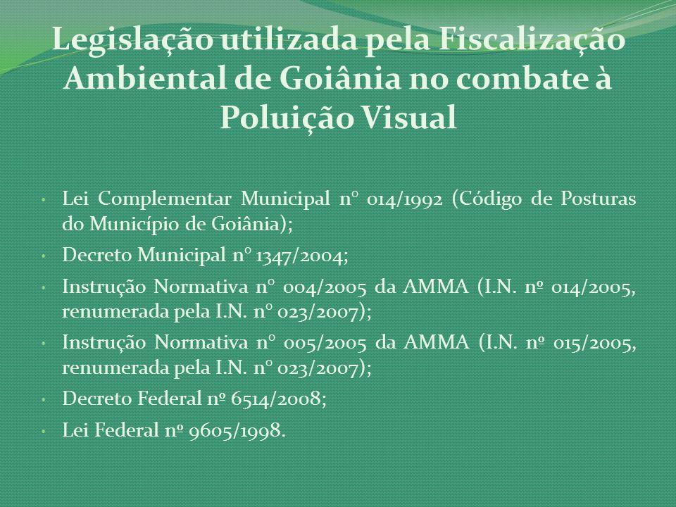 Lei Complementar Municipal n° 014/1992 (Código de Posturas do Município de Goiânia); Decreto Municipal n° 1347/2004; Instrução Normativa n° 004/2005 d