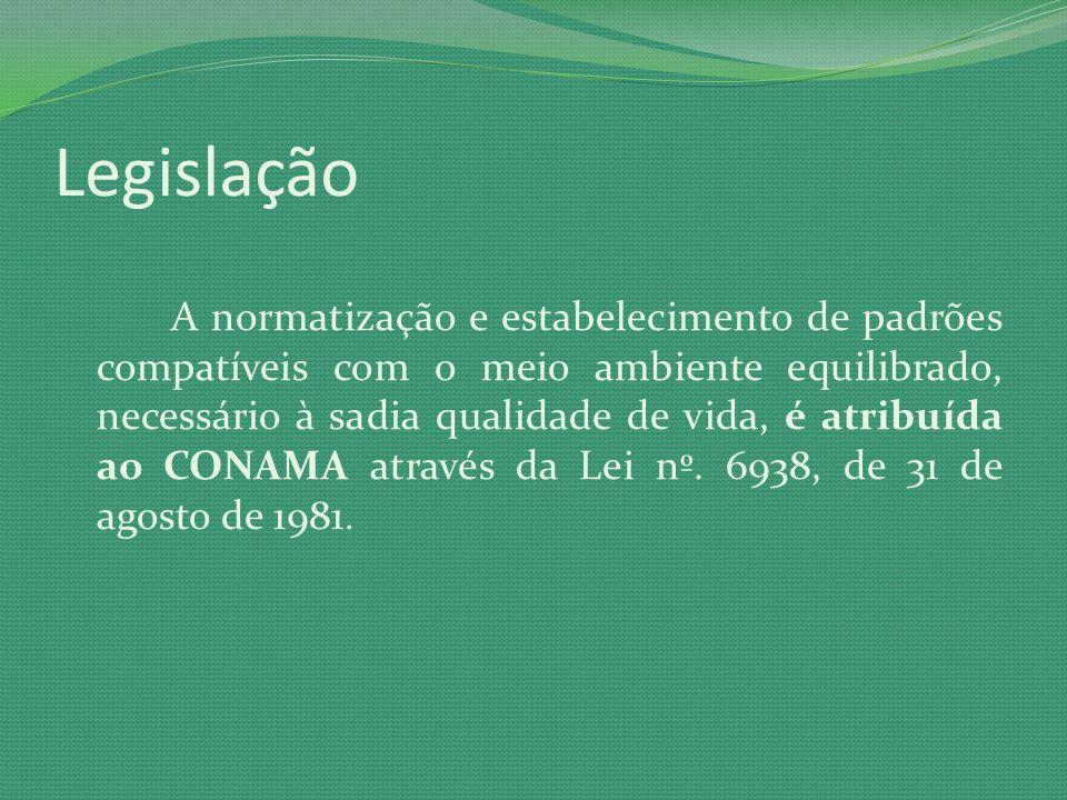 Legislação A normatização e estabelecimento de padrões compatíveis com o meio ambiente equilibrado, necessário à sadia qualidade de vida, é atribuída
