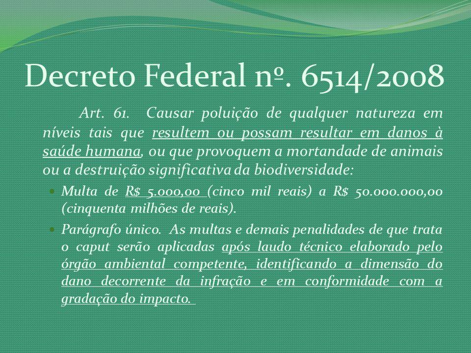 Decreto Federal nº. 6514/2008 Art. 61. Causar poluição de qualquer natureza em níveis tais que resultem ou possam resultar em danos à saúde humana, ou