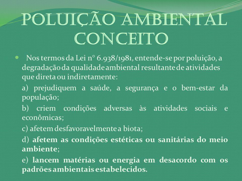 POLUIÇÃO AMBIENTAL Conceito Nos termos da Lei n° 6.938/1981, entende-se por poluição, a degradação da qualidade ambiental resultante de atividades que