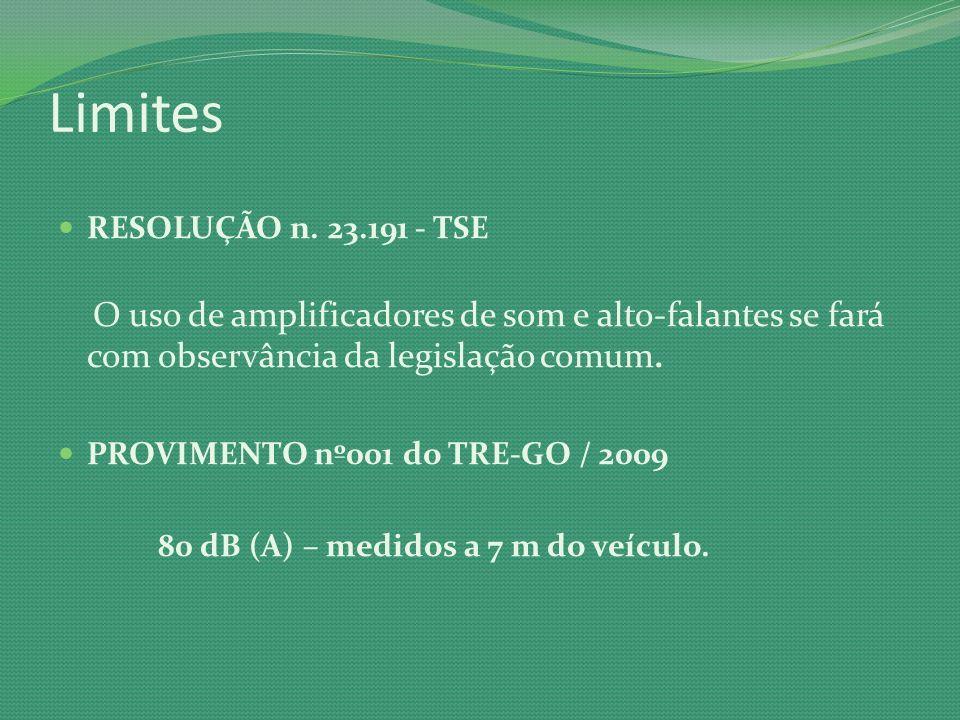 Limites RESOLUÇÃO n. 23.191 - TSE O uso de amplificadores de som e alto-falantes se fará com observância da legislação comum. PROVIMENTO nº001 do TRE-