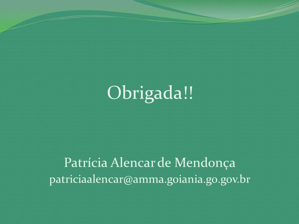 Obrigada!! Patrícia Alencar de Mendonça patriciaalencar@amma.goiania.go.gov.br