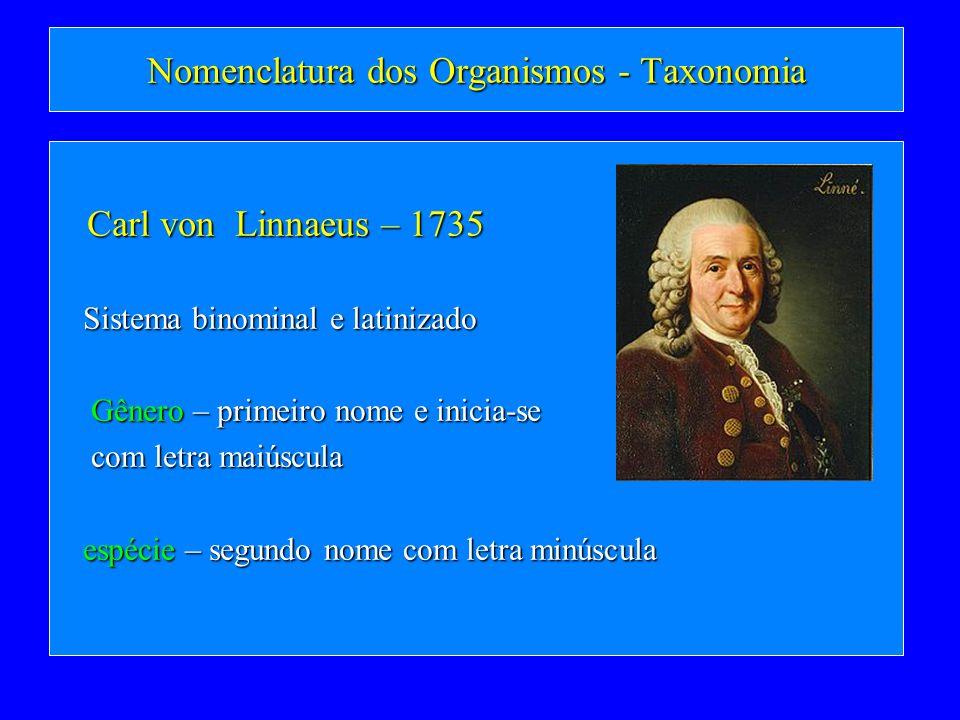 Nomenclatura dos Organismos - Taxonomia Carl von Linnaeus – 1735 Carl von Linnaeus – 1735 Sistema binominal e latinizado Sistema binominal e latinizad