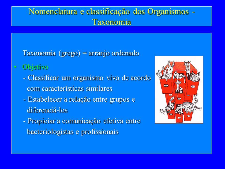 Nomenclatura e classificação dos Organismos - Taxonomia Taxonomia (grego) = arranjo ordenado Taxonomia (grego) = arranjo ordenado ObjetivoObjetivo - C
